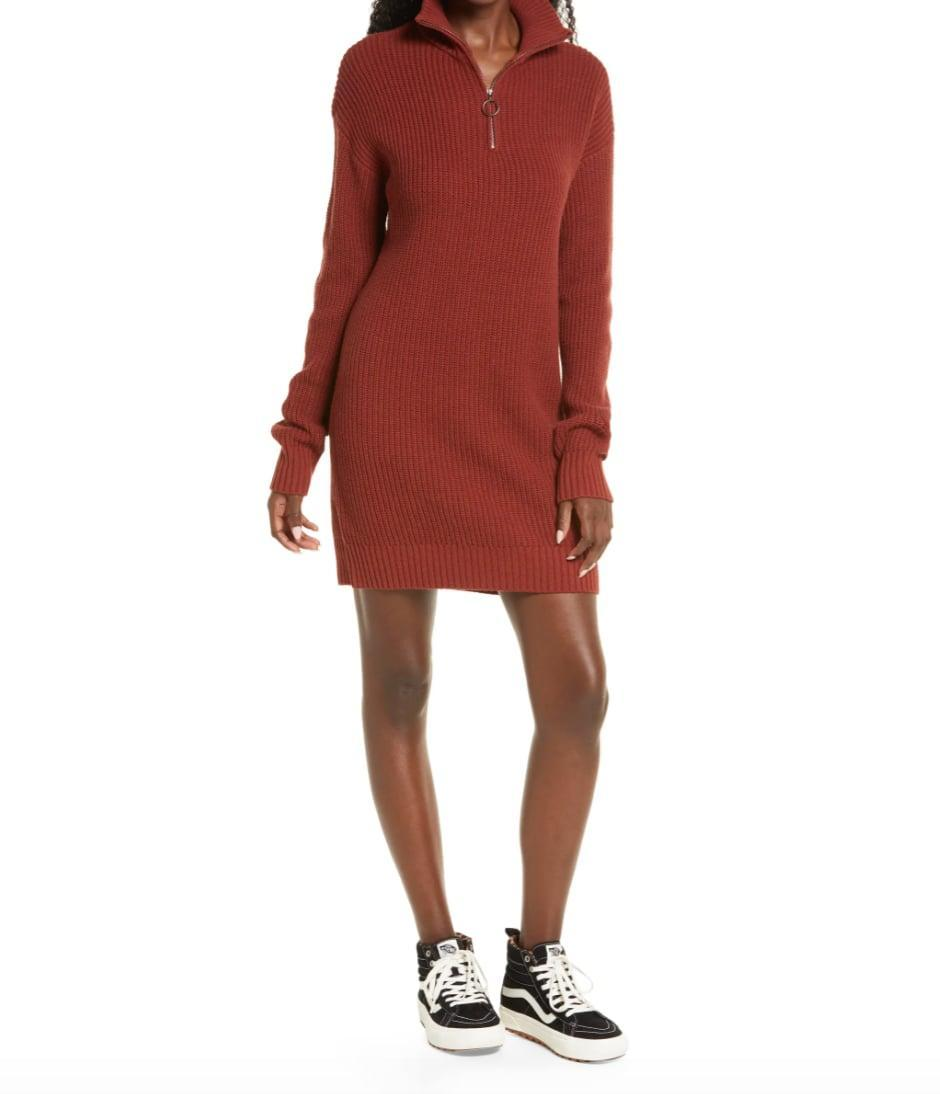 <p>It's official: this <span>BP. Sporty Quarter Zip Long Sleeve Sweater Dress</span> ($49) is the perfect replacement for all your favorite sundresses. Not only is it super comfortable, but you can also dress this frock up or down to your liking. </p>