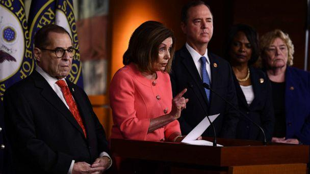 PHOTO: Speaker of the House Nancy Pelosi announces impeachment managers for the articles of impeachment against President Donald Trump on Capitol Hill, Jan. 15, 2020, in Washington. (Brendan Smialowski/AFP via Getty Images)
