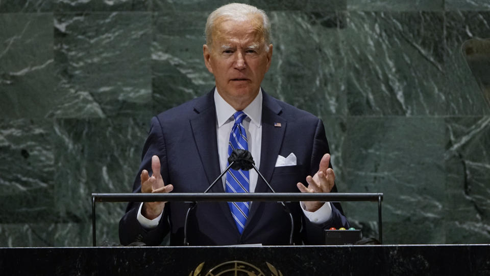 President Biden addresses the U.N. General Assembly on Tuesday in New York City.