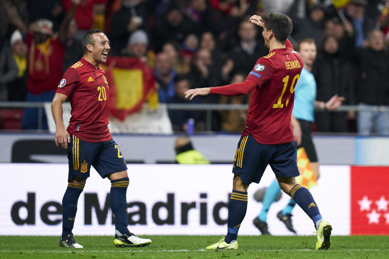 MADRID, SPAIN - NOVEMBER 18: Gerar Moreno of Spain celebrates his second goal during the UEFA Euro 2020 Qualifier between Spain and Romania on November 18, 2019 in Madrid, Spain. (Photo by Quality Sport Images/Getty Images)