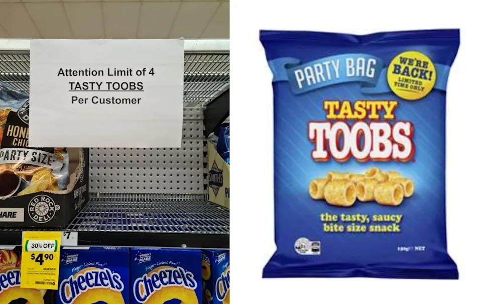 A photo of a sign in Woolworths that says 4 Toobs per customer next to a closeup of a Tasty Toobs pack.