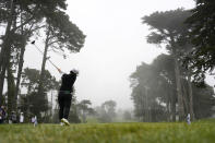Min Lee, tees off on the ninth hole at Lake Merced Golf Club during the final round of the LPGA Mediheal Championship golf tournament Sunday, June 13, 2021, in Daly City, Calif. (AP Photo/Tony Avelar)