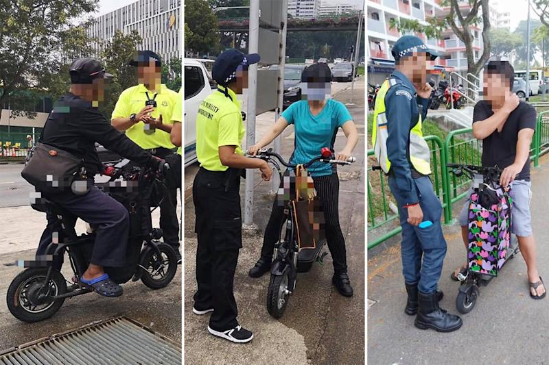Officers from the LTA's Active Mobility Enforcement unit issuing warnings to e-scoooter riders found using their devices along footpaths on Tuesday (5 November). (PHOTOS: Land Transport Authority / Facebook)