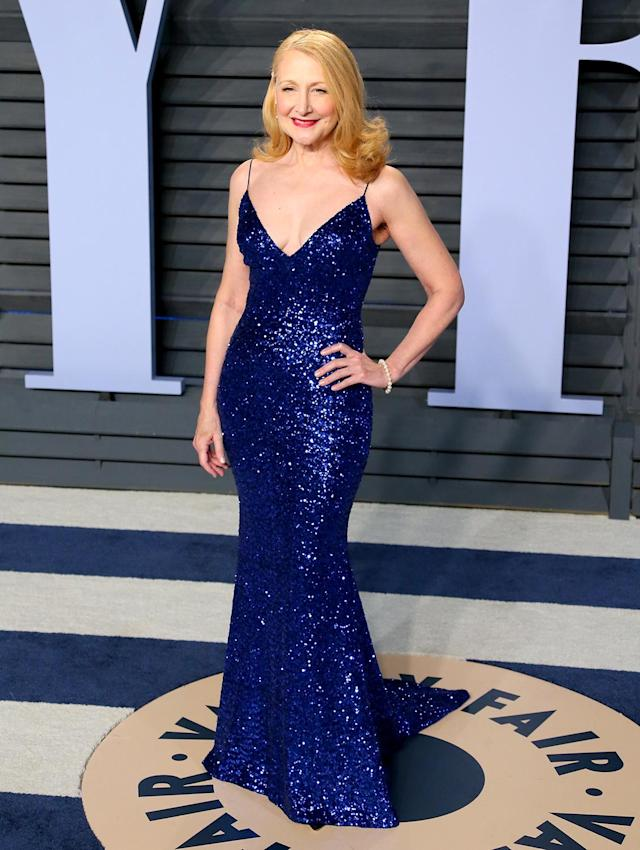 <p>Rhapsody in blue: The actress donned a beaded sapphire gown with a plunging neckline. (Photo: JEAN-BAPTISTE LACROIX/AFP/Getty Images) </p>