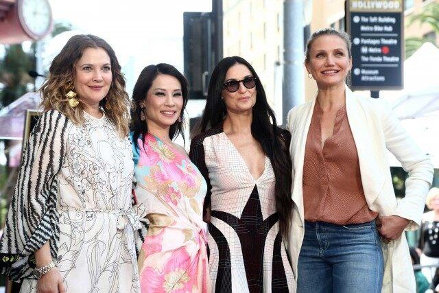 Drew Barrymore, Cameron Diaz, Demi Moore and Lucy Liu at the Hollywood Walk of Fame ceremony on May 1.