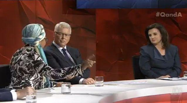 Senator Jacqui Lambie (right) insisted those who supported Sharia Law in Australia should be deported, during Monday night's heated debate about migration, while activist Yassmin Abdel-Magied struggled to remain calm. Picture: Q&A/ABC