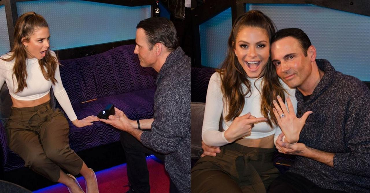 """<p>Longtime boyfriend of Maria Menounos—err, 19 years to be exact—Keven Undergaro recently popped the big question shortly after Howard Stern's SiriusXM interview for her new book, <em>The EveryGirl's Guide To Cooking</em>. <a rel=""""nofollow"""" href=""""http://www.eonline.com/news/747199/all-the-details-about-maria-menounos-custom-engagement-ring""""><em>E! News</em></a> has learned that Maria's ring was designed by French jeweler Jean Dousset,<strong> </strong>who worked closely beside Keven to create a """"one of a kind"""" rock for her. As you can see, the result is stunning. Nicely done, Keven. </p>"""