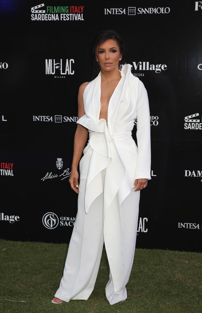 The former 'Desperate Housewives' star chose a chic white ensemble plucked from the Maticevski SS19 collection for her most recent red carpet appearance. <em>[Photo: Getty]</em>