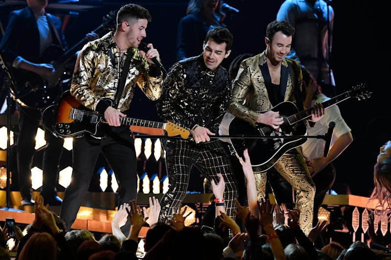 Nick Jonas, Joe Jonas and Kevin Jonas perform during the 62nd annual Grammy Awards on Jan. 26.
