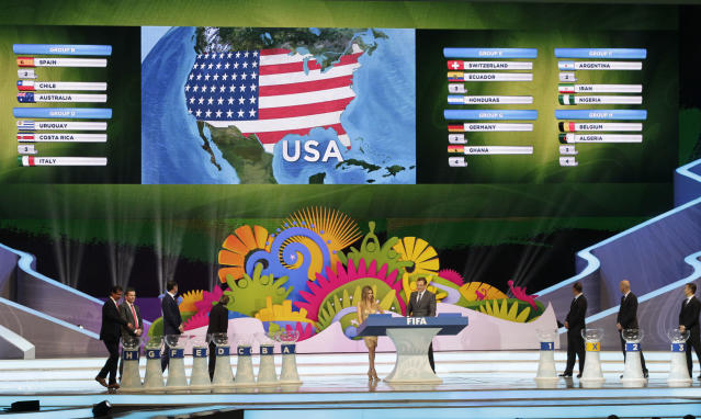 The lost of the United States is drawn during the draw ceremony for the 2014 soccer World Cup in Costa do Sauipe near Salvador, Brazil, Friday, Dec. 6, 2013. (AP Photo/Silvia Izquierdo)