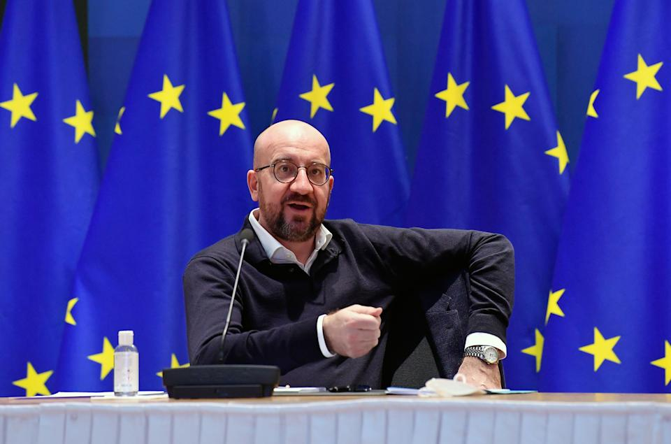 European Council President Charles Michel takes part in a video-conferenced meeting with German Chancellor at the European Council in Brussels, on March 5, 2021. (Photo by JOHN THYS / various sources / AFP) (Photo by JOHN THYS/POOL/AFP via Getty Images)