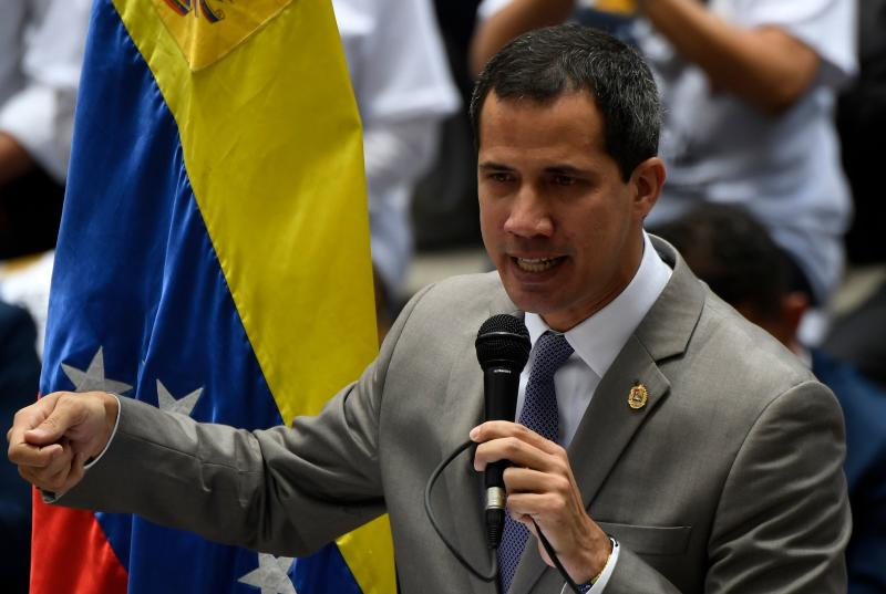 Venezuelan opposition leader and self-proclaimed acting President Juan Guaido speaks during a demo to demand jailed Venezuelan Deputy Juan Requesens be freed in Caracas on August 7, 2019, a year after his detention. (Photo by Federico Parra / AFP) (Photo credit should read FEDERICO PARRA/AFP/Getty Images)