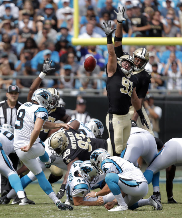 <p>Carolina Panthers' Graham Gano (9) kicks a field goal against the New Orleans Saints in the first half of an NFL football game in Charlotte, N.C., Sunday, Sept. 24, 2017. (AP Photo/Bob Leverone) </p>