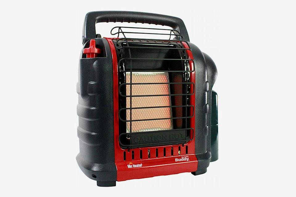 """<h2>Mr. Heater MH9BX Portable Buddy Heater</h2><br>This patented 4,000-9,000 BTU liquid propane heater connects directly to a 1 lb. cylinder; the perfect solution for toasting up enclosed spaces like large tents used for camping. <br><br><strong>The Hype:</strong> 4.6 out of 5 stars and 861 reviews on <a href=""""https://www.amazon.com/dp/B01DD6C4MY"""" rel=""""nofollow noopener"""" target=""""_blank"""" data-ylk=""""slk:Amazon"""" class=""""link rapid-noclick-resp"""">Amazon</a> <br><br><strong>Heat Finders Say:</strong> """"I camp quite a bit all over Montana with my two grandsons and cold is always an issue. We have used this twice now. Once in a Kodak truck tent, in which we all, dogs and humans, got the best night's sleep in the worst cold climate, we've ever had, and once in a 10-man tent filled with several young boys. Both times everyone was comfortable and slept well."""" – <em>Susan, Amazon reviewer </em><br><br><strong>Mr. Heater Store</strong> Mr. Heater MH9BX Portable Buddy Heater, $, available at <a href=""""https://www.amazon.com/dp/B01DD6C4MY"""" rel=""""nofollow noopener"""" target=""""_blank"""" data-ylk=""""slk:Amazon"""" class=""""link rapid-noclick-resp"""">Amazon</a>"""