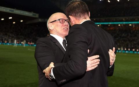Derby County owner Mel Morris celebrates victory with manager Frank Lampard - Credit: PA