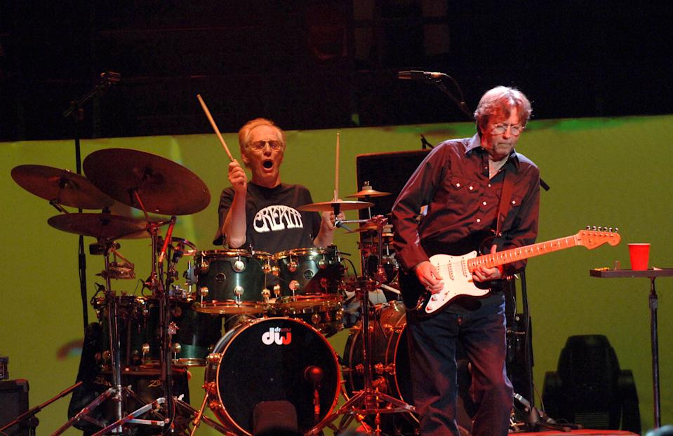 Cream In Concert At The Royal Albert Hall, London, Britain - 03 May 2005, Cream - Ginger Baker And Eric Clapton (Photo by Brian Rasic/Getty Images)