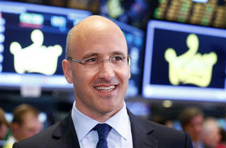 King CEO Riccardo Zacconi smiles during an interview during the IPO of Mobile game maker King Digital Entertainment Plc on the floor of the New York Stock Exchange March 26, 2014. REUTERS/Brendan McDermid