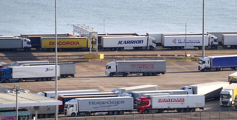 Lorries queue at the Port of Dover in Kent (PA Wire)