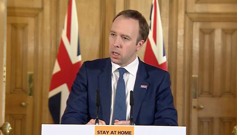 Screen grab of Health Secretary Matt Hancock answering questions from the media via a video link during a media briefing in Downing Street, London, on coronavirus (COVID-19).