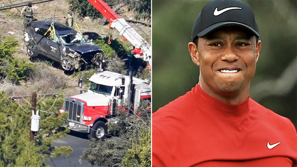 Tiger Woods' car, pictured here after the horror crash in Los Angeles.