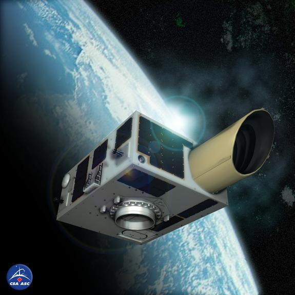 An artist's illustration of the NEOSSat asteroid-hunting satellite in Earth orbit. The Canadian Space Agency mission will search for large asteroids near Earth and track space debris.