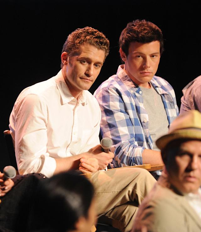"HOLLYWOOD, CA - MAY 04: Singers Matthew Morrison and Cory Monteith attend the ""Glee"" Academy Screening and Q&A on May 4, 2011 in Hollywood, California. (Photo by Jason Merritt/Getty Images)"