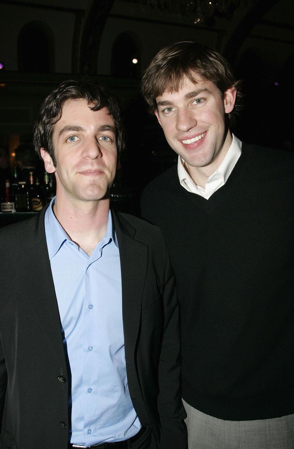"<p>The actors behind <em>The Office</em>'s Ryan and Jim are also former classmates, alumni of Newton South High School. BJ Novak shared a few memories about their relationship on <em><a href=""https://www.youtube.com/watch?v=xQ1Yy0kjvjA"" rel=""nofollow noopener"" target=""_blank"" data-ylk=""slk:The Ellen Show"" class=""link rapid-noclick-resp"">The Ellen Show </a></em>in 2014. ""John Krasinski and I have known each other our whole lives in the weirdest, most coincidental way,"" Novak told Ellen. ""We played little league together!""</p>"