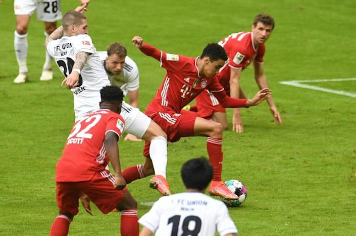 Jamal Musiala (C) scored Bayern Munich's goal in their home draw with Union Berlin on Saturday