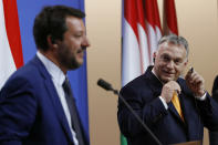 Italian Deputy Prime Minister and Minister of Interior Matteo Salvini, left, and Hungarian Prime Minister Viktor Orban during their joint press conference in the PM's office in Budapest, Hungary, Thursday, May 2, 2019. (Szilard Koszticsak/MTI via AP)