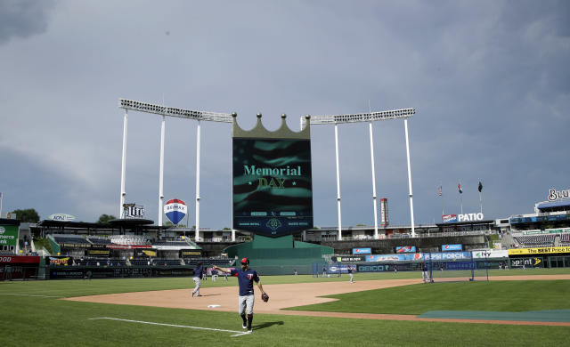 A woman was arrested for allegedly starting fires at Kauffman Stadium. (AP Photo)