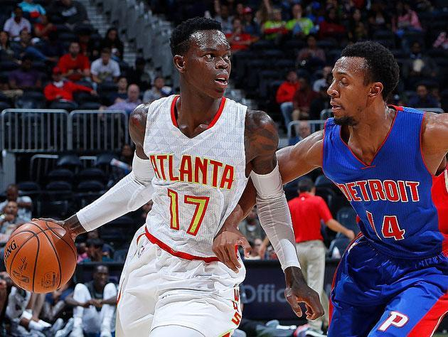 Dennis Schröder lines up for the pay day. (Getty Images)