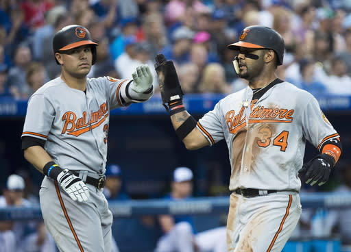 Baltimore Orioles' Jonathan Villar (34) celebrates his run scored with teammate Renato Nunez (39) during first inning baseball action in Toronto on Monday, Aug. 20, 2018. (Nathan Denette/The Canadian Press via AP)