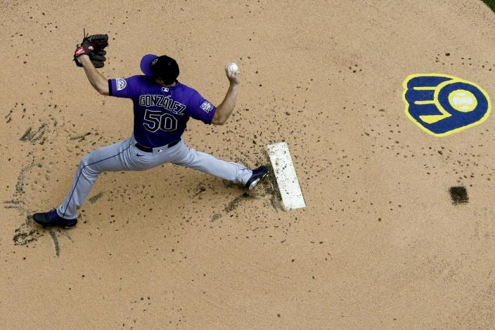 Colorado Rockies starting pitcher Chi Chi Gonzalez throws during the first inning of a baseball game against the Milwaukee Brewers Sunday, June 27, 2021, in Milwaukee. (AP Photo/Morry Gash)