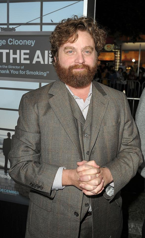 """<a href=""""http://movies.yahoo.com/movie/contributor/1805534781"""">Zach Galifianakis</a> at the Los Angeles premiere of <a href=""""http://movies.yahoo.com/movie/1810062520/info"""">Up in the Air</a> - 11/30/2009"""