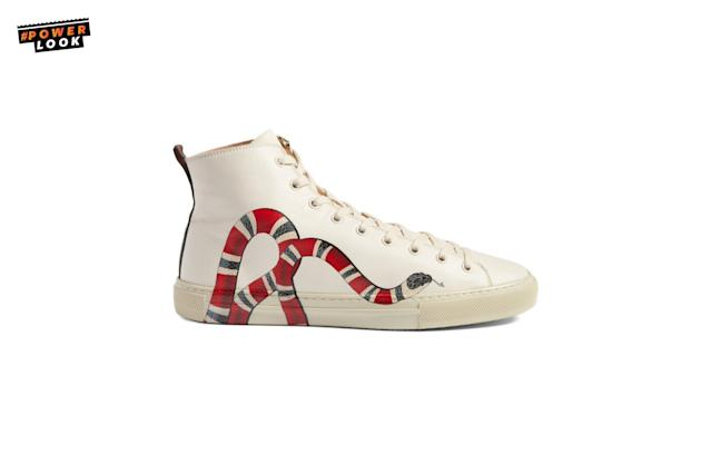 "<p>""There's a gr<span>eat selection of white… fashionable, clean white sneakers now. Gucci's got some</span><span> with details like stripes, tigers, and snakes. </span>There's a lot to choose from this season, for those who go for a commercial look or for people who want to step out and amp up their look."" <em>Eric Jennings, Saks Fifth Avenue Vice President & Menswear Fashion Director</em><br>Gucci Major Sneaker Leather High-Top Sneakers, <a href=""http://www.saksfifthavenue.com/main/ProductDetail.jsp?FOLDER%3C%3Efolder_id=2534374306420995&PRODUCT%3C%3Eprd_id=845524447111537&R=888108688647&P_name=Gucci&N=1678+306420995&bmUID=lMm52TT"" rel=""nofollow noopener"" target=""_blank"" data-ylk=""slk:$750"" class=""link rapid-noclick-resp"">$750</a> <br><a href=""http://saksfifthavenue.com"" rel=""nofollow noopener"" target=""_blank"" data-ylk=""slk:saksfifthavenue.com"" class=""link rapid-noclick-resp"">saksfifthavenue.com</a> </p>"
