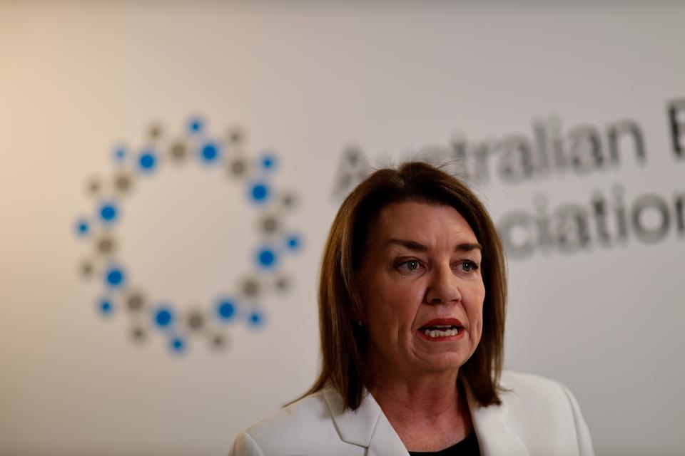 ABA CEO Anna Bligh speaks to the media during a press conference in Sydney, Friday, March 20, 2020. (AAP Image/Paul Braven) NO ARCHIVING
