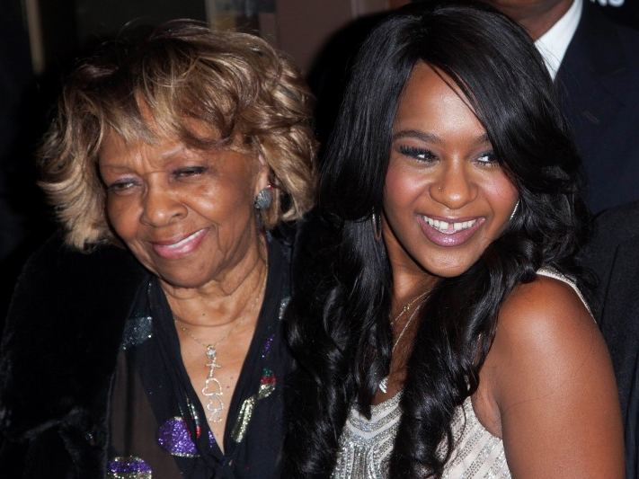 Cissy Houston and Bobbi Kristina Brown (R) attend the opening night of