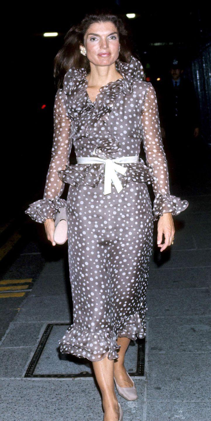 <p>This wrap style became a go-to in Jackie's New York years. The literary powerhouse also had a love of polka dots that she embraced throughout her life. </p>