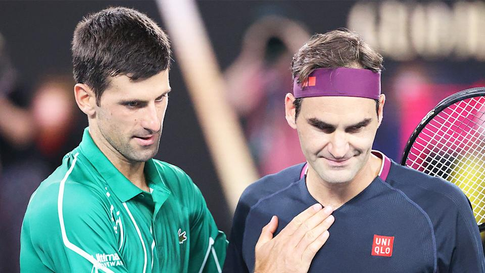 Novak Djokovic (pictured left) comforting Roger Federer (pictured right) after a win at the Australian Open.