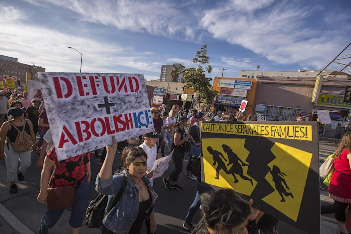 <p>People protest the Trump administration policy of removing children from parents arrested for illegally crossing the U.S.-Mexico border on June 14, 2018, in Los Angeles, Calif. (Photo: David McNew/Getty Images) </p>