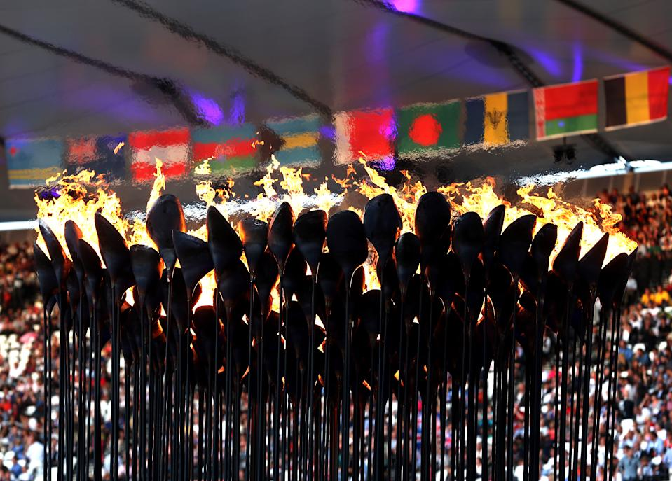 The Olympic Cauldron burns during the Closing Ceremony on Day 16 of the London 2012 Olympic Games at Olympic Stadium on August 12, 2012 in London, England. (Photo by Julian Finney/Getty Images)