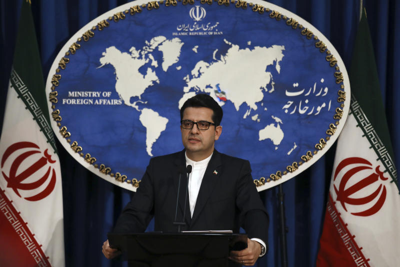 """In this May 28, 2019 photo, Iran's Foreign Ministry spokesman Abbas Mousavi speaks at a media conference in Tehran, Iran.  Iran remains open to diplomacy to save its 2015 nuclear deal with world powers but has """"no hope"""" in the international community, the country's Foreign Ministry spokesman said Monday, July 8, 2019, as the Islamic Republic broke the limit the agreement put on its enrichment of uranium. (AP Photo/Vahid Salemi)"""