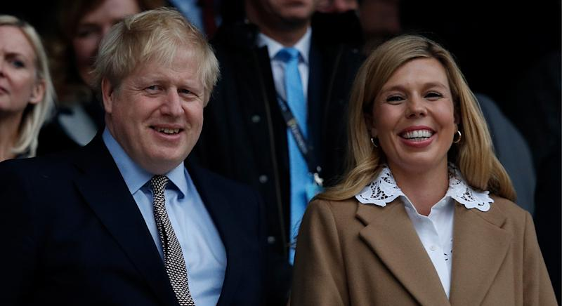 Boris and Carrie, seen here during the 2020 Guinness Six Nations, have received a Kit & Kin delivery at Number 10. (Getty Images)