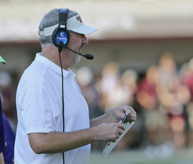 Mississippi State head coach Joe Moorhead watches the game against Southern Miss. from the sideline during the second half of an NCAA college football game Saturday, Sept. 7, 2019, in Starkville, Miss. (AP Photo/Jim Lytle)