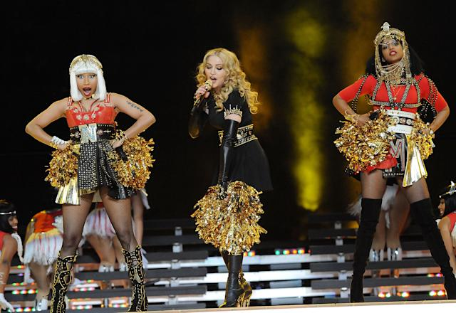 INDIANAPOLIS, IN - FEBRUARY 05: Nicki Minaj, Madonna and M.I.A. perform during the Bridgestone Super Bowl XLVI Halftime Show at Lucas Oil Stadium on February 5, 2012 in Indianapolis, Indiana. (Photo by Jeff Kravitz/FilmMagic)