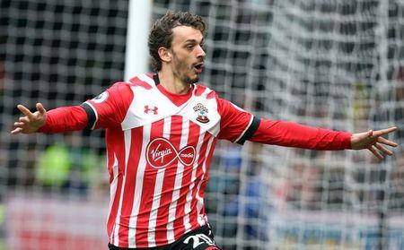 Southampton's Manolo Gabbiadini celebrates scoring their third goal