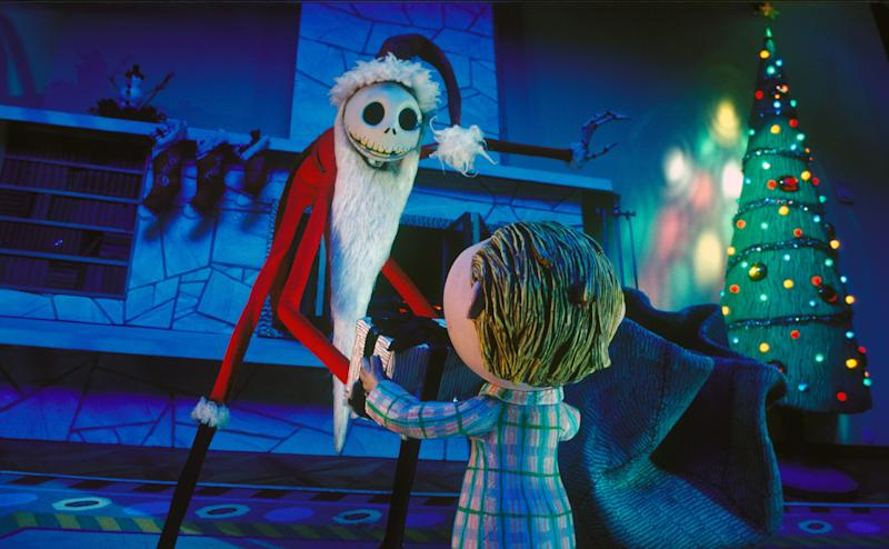 On the set of The Nightmare Before Christmas, a stop motion musical fantasy film written and produced by Tim Burton and directed by Henry Selick. (Photo by Touchstone Pictures/Sunset Boulevard/Corbis via Getty Images)