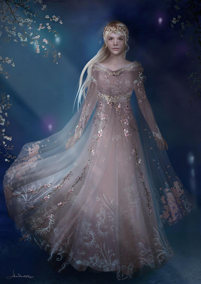 Fanning personally requested this Sleeping Beauty-style dress for her character (Photo: Disney)
