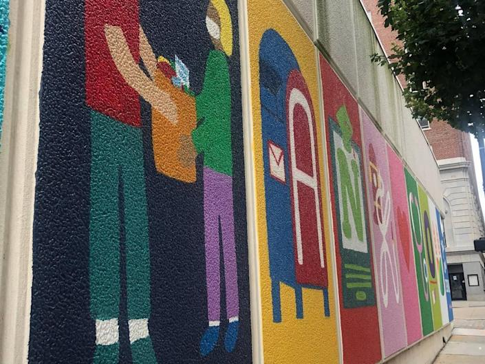 The Thank You mural on Fayetteville street illustrates each letter with an essential or frontline job.