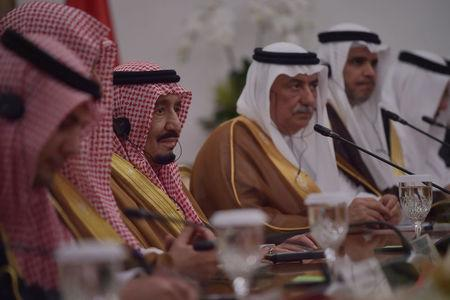King Salman bin Abdulaziz (3rd L) attends a bilateral meeting at the presidential palace in Bogor, Indonesia March 1, 2017. King Salman on March 1 began the first visit by a Saudi monarch to Indonesia in almost 50 years, seeking to strengthen economic ties with the world's most populous Muslim-majority country. REUTERS/Adek Berry